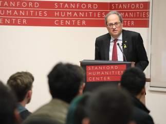 Quim Torra en una conferencia pronunciada en la Universidad de Stanford.