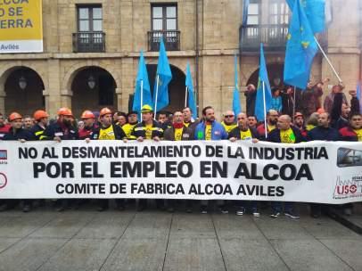 Movilización contra el cierre de Alcoa en Avilés.