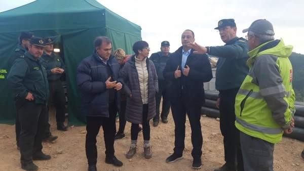 El delegado del Gobierno visita el operativo de rescate