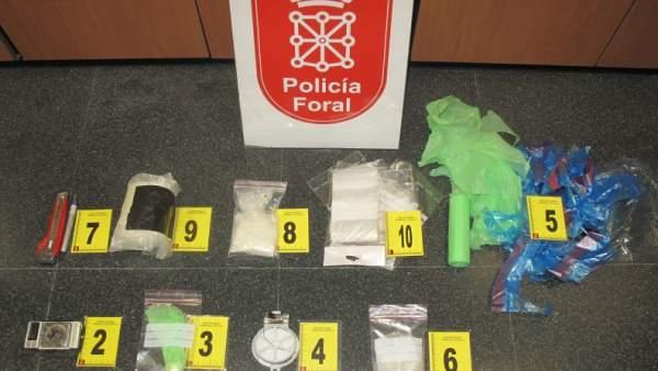 Drogas incautadas al detenido