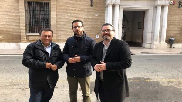 Heredia y Calderón en antequera PER medios atención visita PSOE