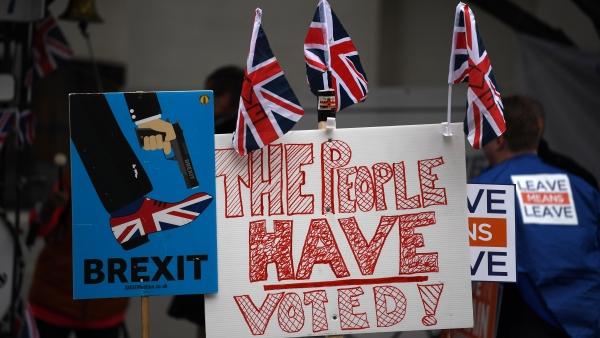 Carteles y pancartas a favor y en contra del 'brexit'