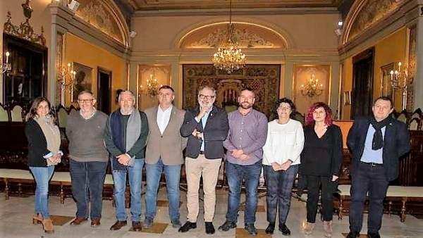 El alcalde de Lleida, Fèlix Larrosa y los miembros del jurado de los Premis Hort