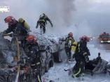 Impactante accidente entre dos camiones
