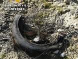 Neumático quemado en Villanueva de la Serena