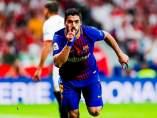 Luis Suárez celebra un gol en la final de Copa