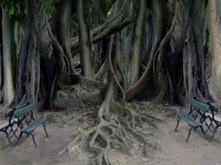 A través del paisaje de 'Pesadilla' (2001), nos devuelve al pasado y a su infancia. Con los bancos representa a las personas.