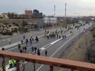 Los taxistas marchan hacia Barajas