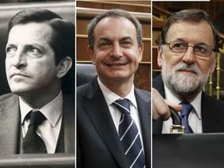 Suárez, Zapatero y Rajoy