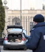 Imagen del coche estrellado contra la valla del palacio presidencial.