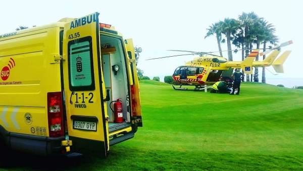 Ambulancia y helicóptero del SUC
