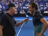 McEnroe entrevista a Pouille tras su victoria ante Raonic
