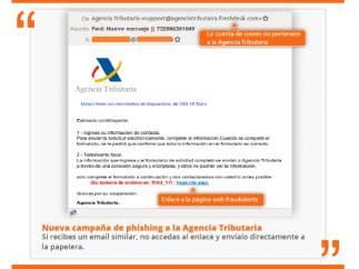 Correo electrónico fraudulento que suplanta la identidad de la Agencia Tributaria.