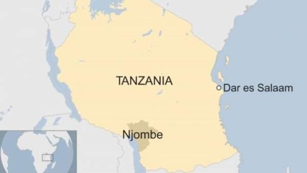 Mapa de Njombe en Tanzania.