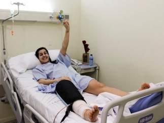 Carolina Marín tras ser operada de la rotura de ligamento cruzado