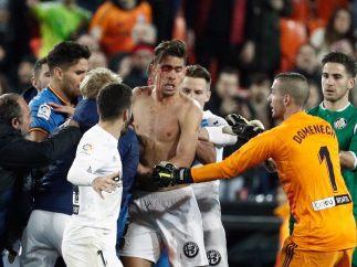 Las fotos de la terrible pelea entre jugadores de Getafe y Valencia
