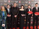 Albert Rivera , Alberto Garzón, Pedro Sánchez y Pablo Iglesias, en los Goya 2018