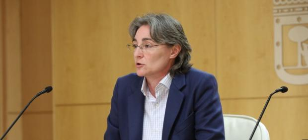 La primer teniente de alcalde de Madrid, Marta Higueras, comparece en rueda de prensa.