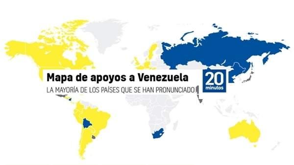 Mapa de apoyos a Venezuela