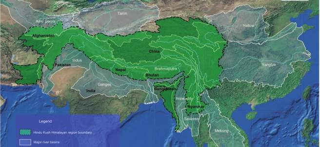 Región del HKH y sus diez cuencas de ríos.