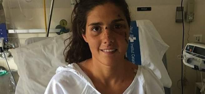Carolina Routier, en la cama del hospital