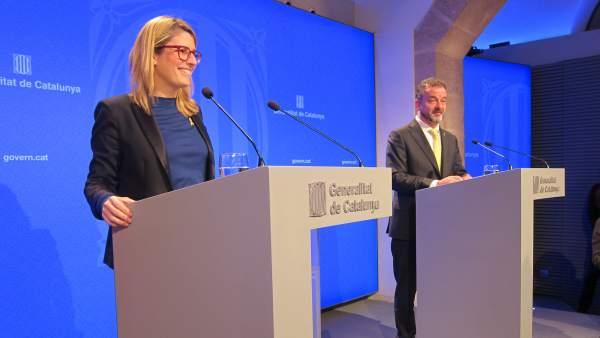 La consellera de Presidencia y portavoz del Govern, Elsa Artadi, y el conseller Alfred Bosch.