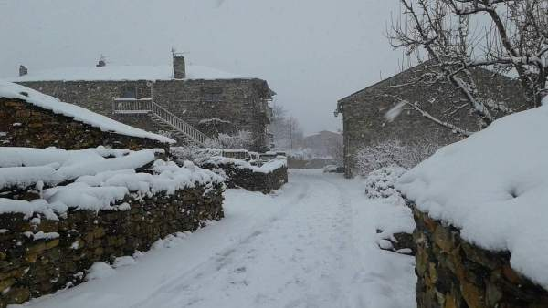 Pueblo nevado.