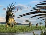 Un grupo de bajadasaurus en una ilustración del paleoartista Jorge A. González.