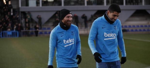Leo Messi Luis Suárez Barcelona entrenamiento