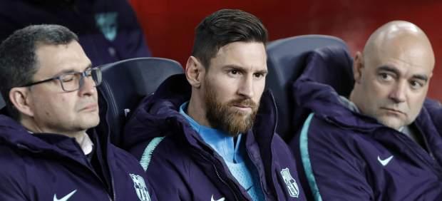 Leo Messi, en el banquillo del Camp Nou.