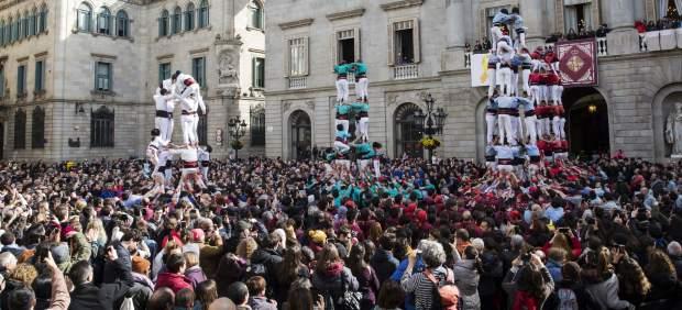 Diada castellera durant les Festes de Santa Eulàlia de Barcelona.