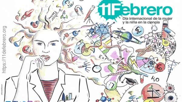 Cartel anunciador del Día Internacional de la Mujer y la Niña en la Ciencia