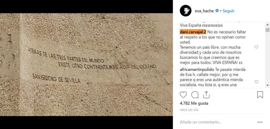 Dani Carvajal responde a Eva Hache por su comentario sobre la manifestación de Colón