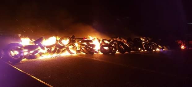 Neumáticos ardiendo en Cataluña