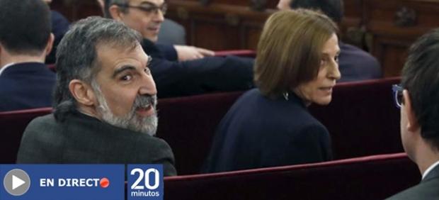 Jordi Cuixart y Carme Forcadell en el Tribunal Supremo.