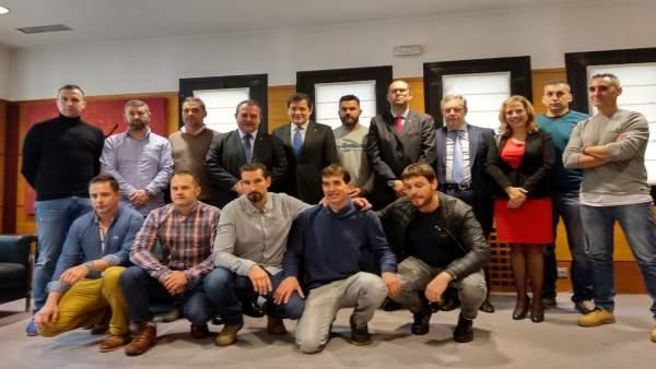 Miembros de la Brigada de Salvamento Mineroson recibidosa en Presidencia.