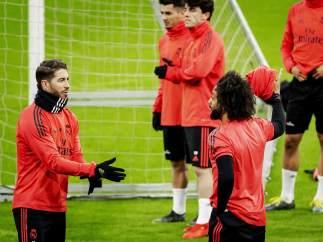 Entrenamiento del Real Madrid en Amsterdam.