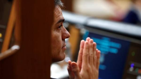 Pedro Sánchez, en la votación que tumbó sus presupuestos