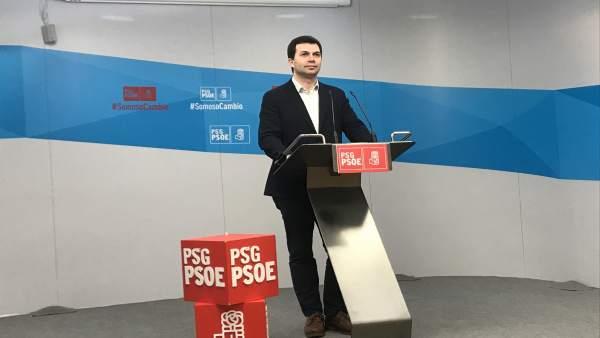 El secretario general del PSdeG, Gonzalo Caballero, en rueda de prensa