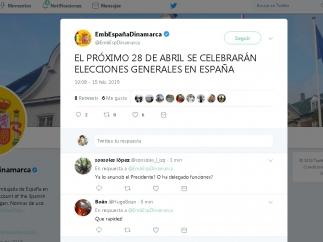 La embajada de España en Dinamarca anuncia las elecciones desde Twitter 17 minutos antes que Pedro Sánchez