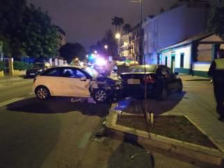 Coche accidentado accidente tráfico málaga ciudad coche robado se empotra con ot