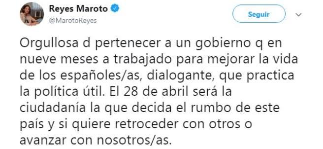 Tuit publicado por la ministra Reyes Maroto para despedirse del Gobierno.