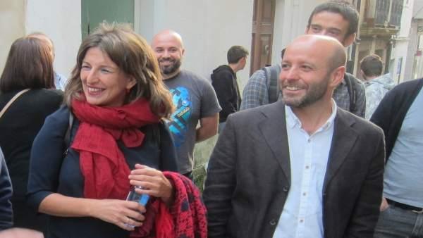 Yolanda Díaz y Luís Villares en la campaña electoral de 2016