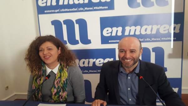 Luís Villares, portavoz de En Marea, y Ana Seijas, miembro del Consello das Mare