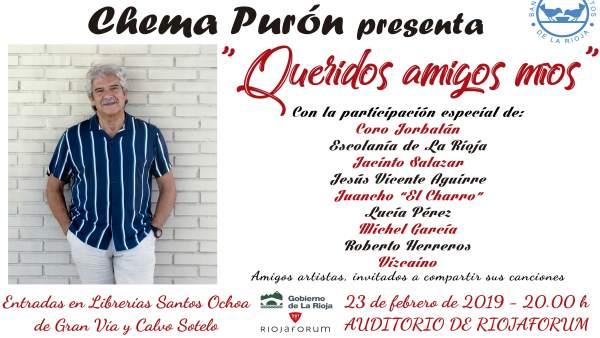 Cartel del concierto de Chema Purón 'Queridos amigos míos'