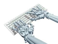 Un robot utiliza un teclado.