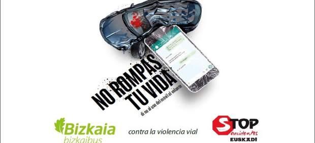 Bizkaibus y Stop Accidentes ponen en marcha una campaña para prevenir el uso del