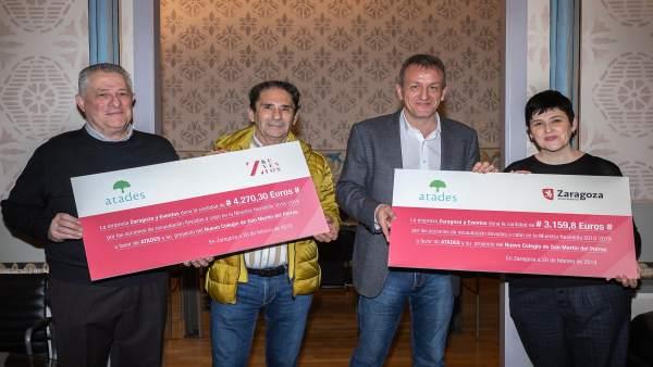 El Ayuntamiento y la empresa Zaragoza y Eventos entregan a Atades la recaudación
