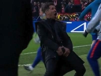 Diego Pablo Simeone celebra el 1-0 del Atlético de Madrid ante la Juve.