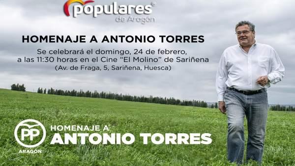 El PP aragonés rendirá homenaje este domingo a Antonio Torres en el cine 'El Mol